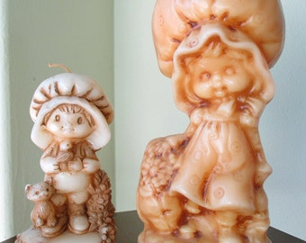 "2 Unused Adorable Vintage 1970's Holly Hobbie Wax Candles / 9-1/2"" Large + 6"" Small Hallmark"