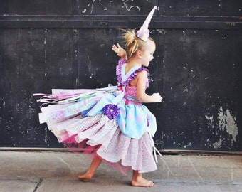 Stella Unicorn Costume - Pink PomPon - girls unicorn costume, toddler unicorn costume, baby unicorn costume, unicorn dress, unicorn birthday