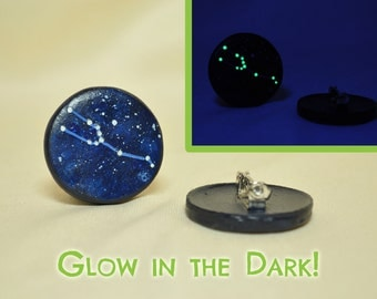 Taurus Constellation Stars Pinback Button, GLOW in the DARK, Zodiac, Horoscope, Astrology, Astronomy, April 20 - May 20, The Bull, The Stars