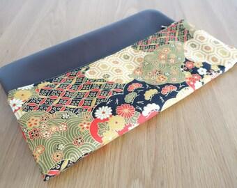 mmoriyo - Handmade Foldover Clutch with Vintage Japanese Blossom Flower Print