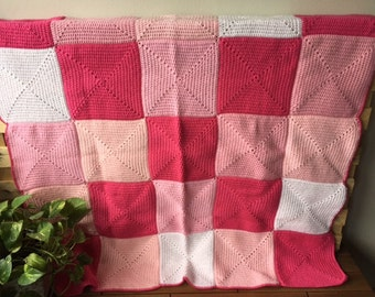 Handmade Crochet Blanket Throw Afghan, lounge gift, bedding gift, Pink white young girl decor, Patchwork, housewarming gift, Etsy Australia