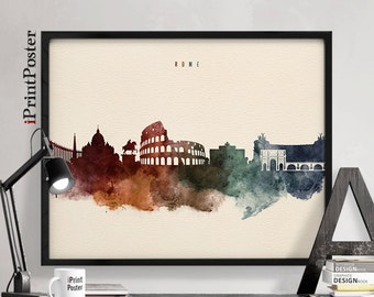 Rome poster, Italy cityscape, Rome art print, Watercolour skyline, wall art, Home decor, Travel poster, City art, iPrintPoster