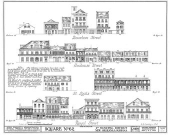 "New Orleans French Quarter Block  Architectural Drawing Blueprint of Bourbon Street  Giclee Fine Art Print 18""x 24"""