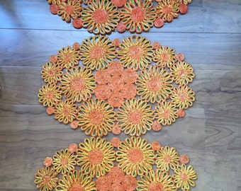 Vintage Abaca Hemp Orange Flower Power Straw Placemats