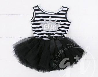 First Birthday outfit one crown dress or Christmas dress Black and white with silver glitter