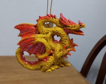 Ceramic Dragon Ornament (#383) - gold with Hot Orange with a little glitter