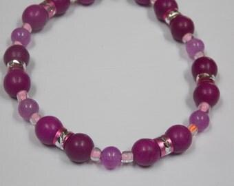 Hand made,one of a kind Beaded bracelet w/ Purple Howlite