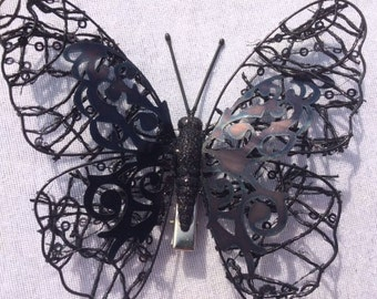 Black Butterfly With Netting Fake Butterfly Artificial Butterfly Feather Butterfly Scrapbooking Cake Decorations Embellishments Hairclip