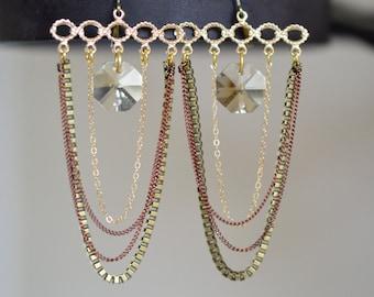 Gold Chandelier Earrings, Copper Boho Earrings, Boho Chandelier Earrings, Bohemian Earrings, Long Crystal Earrings Long Gold Earrings Copper