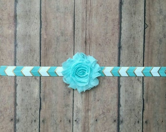 Mint and gold Chevron elastic headband with matching shabby flower for baby, toddler and adult