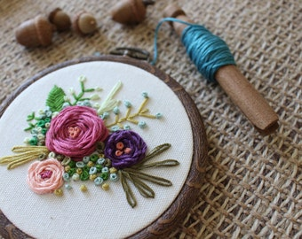 """Floral embroidery 4"""" hoop- Wall Hanging-Ready to Ship!"""