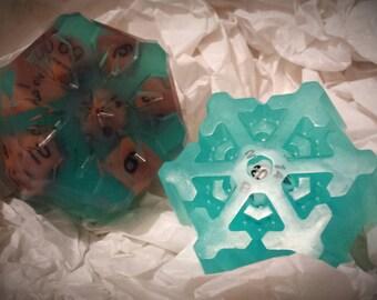 Snowflake D20 soap