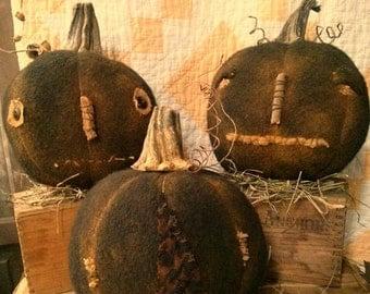 Primitive Black Pumpkin Fall Halloween Folk art Faap Hafair Haha