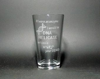 Genetics Pint Glass - DNA Pint Glass - Biology Pint Glass - Biology Humor - Biology Teacher Gift - Genetics Gift - Science Teacher Gift