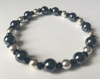 Hematite, black onyx and silver bracelet