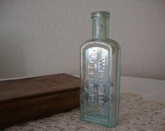 "Vintage Aqua ""Rainbow Iridescent"" Glass Henderson's WILD CHERRY BEVERAGE New York Antique Soda Bottle Eclectic Stem Vase"
