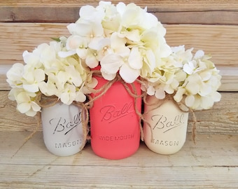 Coral and Grey, Coral and Gray Decor, Coral and Grey Nursery, Coral and Grey Wedding, Coral and Grey Painted Mason Jars,Coral and Grey Decor