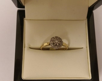 18ct Yellow Gold Diamond Cluster Ring Size N