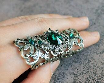 Dragonfly ring, swarovski ring, vintage ring, fantasy ring, silver ring, gothic, fantasy