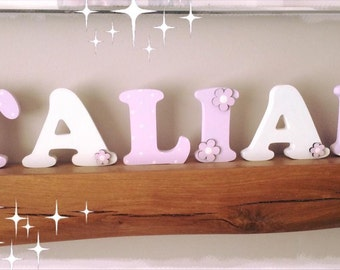 Freestanding Nursery Decor,  Name letters,  nursery decor, pink princess,  flowers, Word Room Decor 10cm letters Uppercase letters any name