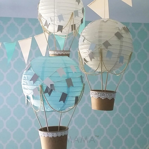 Whimsical hot air balloon decoration diy kit blue grey white for Balloon decoration kit