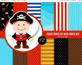 80% OFF Pirate Digital Paper, Pirate Boy Clip Art, Illustration, Set