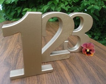 Set of 12 Golden Numbers, Photo props, Free standing numbers