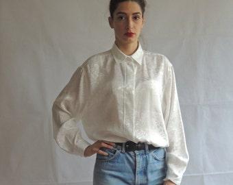 90s Vintage Long Sleeve Oversized Slouchy White Blouse