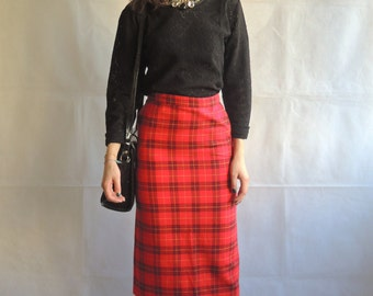 Vintage Midi Skirt/ Red Tartan Checked Pencil Skirt