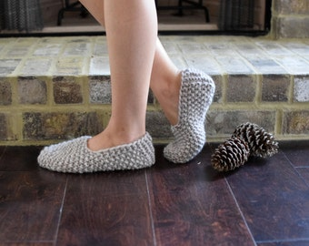 Knit Slippers, Women's Light Beige Hand Knit House Slippers, Wool Slipper Socks, Knit Socks, Women's Wool Socks