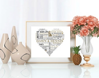 "Personalized ""Heart With Couple Information"" Wall Art"