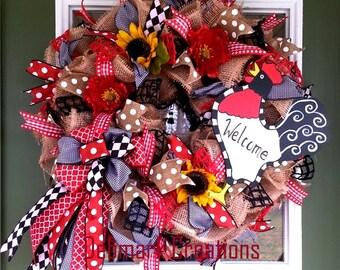 Front door wreath, Welcome wreath, Rooster wreath, Country wreath, Burlap wreath