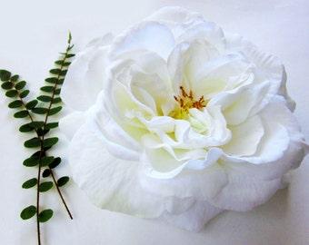 Wedding Hair Flower, Cream White Rose Hair Clip, Realistic Rose, Rose Fascinator, Large Rose, White Wedding, Rose Hair Piece, Classic Rose