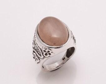 925 Solid Sterling Fine Silver Rose Quartz  Ring