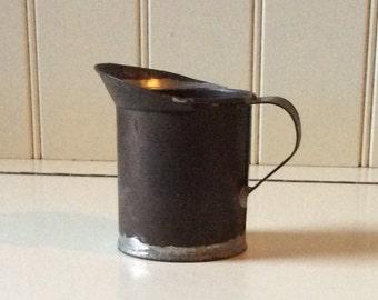 Antique Darkened Tin Pitcher/Period Tin/Sloppy Soldered Tin Pitcher/1800's Tin Pitcher/Civil War Period Tin/Collectible Tin/Antique Tinware