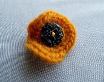 Crochet & Button Yellow Brooch