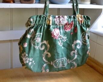 Vintage silk Lined Knitting Bag