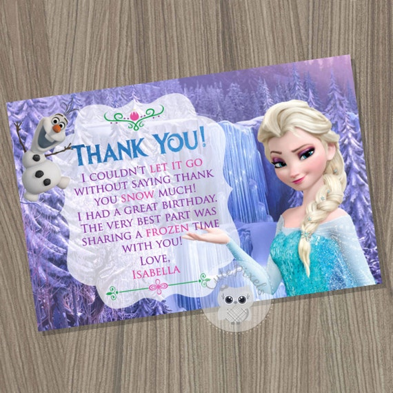 Frozen Thank You Card Disney Frozen Frozen Birthday Frozen Party