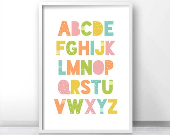 ABC Kids Art Print, Nursery Print, Playroom Wall Art, Kids Wall Art, Kids Alphabet Print, Nursery Alphabet Art, Nursery Art, Playroom Decor