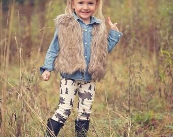 Canadian Moose Leggings/Gender Neutral Leggings/Toddler Leggings/Baby Leggings/Organic Cotton Knit Leggings