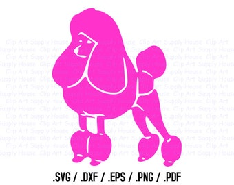 Poodle Puppy Dog Clipart, Veterinary Office Wall Art, Animal SVG File for Vinyl Cutters, Screen Printing, Silhouette Die Cut Machine - CA113