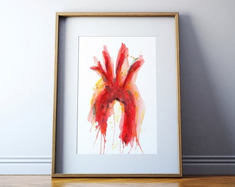 Aorta Watercolor Art Print - Vascular Watercolor Art - Anatomy Art - Cardiovascular Art Gift