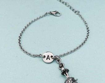 Ballerina music box charm bracelet, ballerina music box charm, adjustable bracelet, initial bracelet, monogram