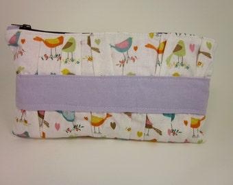 Gathered Clutch Handbag lavender birds, cosmetic bag, fabric clutch,bird purse
