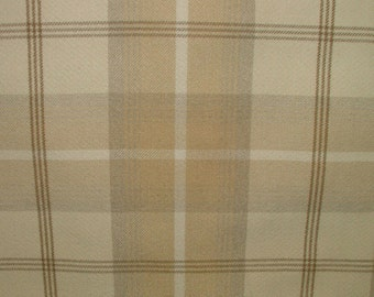 Balmoral Natural Cream Wool Effect Washable Thick Tartan Plaid Upholstery & Curtain Designer Fabric