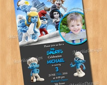The Smurfs Birthday Party Invitation with photo - PERSONALIZED Smurfs Invitation - ONLY FILE