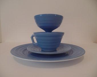 Hazel Atlas Moderntone Blue Pastel 4 Piece Set