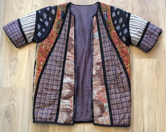 Vintage 70s Navajo Aztec hippy quilted jacket Small