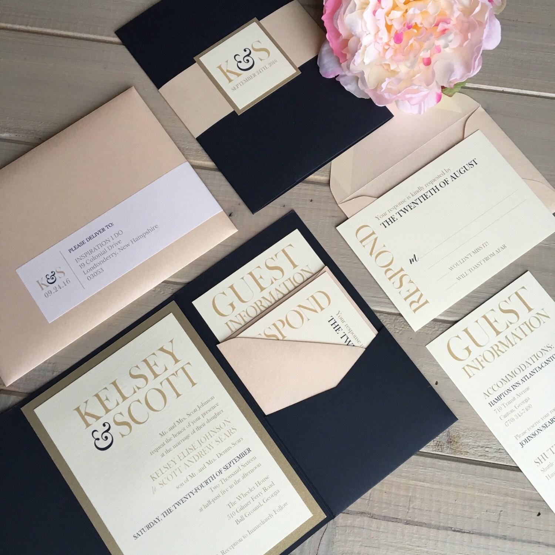 Gold And Blush Wedding Invitations: Navy Blush And Gold Wedding Invitations By