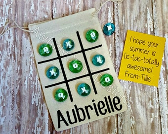 Tic tac toe game, personalized children's gift, on the go games, travel tic tac toe, kid's game, birthday party favor, classmate gift, games